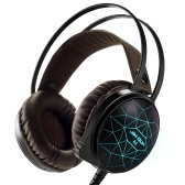 JINDUN 3.5mm Stereo PC Gaming Headphones Over-ear 7 Colors LED Light with Microphone for Computer Games
