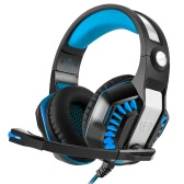 Beexcellent GM-2 Pro Over Ear Headphone Glowing Gaming Headset Surround Stereo Music Earphone with Microphone for PC Gaming Online Chatting Blue and Black
