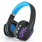 Beexcellent Q2 Wireless Bluetooth Headphone Earphone Over ear Gaming Headset LED Light Stereo Music Hands-free Black with Blue