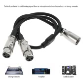 XLR Audio Cable Splitter XLR Male To Dual XLR Female Microphone Cable Mic Cable 0.5m/1.6ft for Microphone Mixer Mixing Console