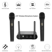 Docooler UHF Wireless Microphone System with Receiver Two Handheld Microphones Dual Channel for KTV Teaching