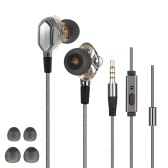 3.5mm HiFi Headphones In-ear Earphones Dual Dynamic Driver Design In-line Control Headsets for iPhone Samsung LG Smart Phones Computers
