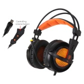 SADES A6 Gaming Headphone with Mic USB Professional Over Ear Stereo Gaming Headset with LED Noise Cancellation & Wonderful Sound Effect Music Earphones Black with Orange for Desktop Notebook Laptop
