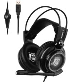 Somic G941 USB Gaming Headphone 7.1 Sound Effect  w/ Mic Vibration Intelligent Game Headset with In-line Control Cool LED Lamp Black for Desktop Notebook Laptop