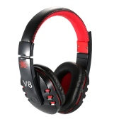 V8 Professional Bluetooth Gaming Headset Wireless Stereo Bluetooth 4.0 + EDR Headphone Music Hands-free w/ Mic Adjustable Headband Black-red for iPhone Samsung Smart Phones Desktop Notebook Tablet PC