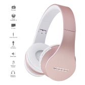 Andoer 4 in 1 Bluetooth Headphone Wireless Stereo Bluetooth 3.0 Headset 3.5mm Wired Earphone  -Rose Gold