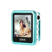 ONN Q6 8GB MP3 Music Player 1.5 in TFT MP4 with Stereo Sound Headphone Earphone FM Recording Clip Design Blue