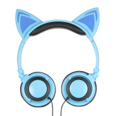 3.5mm Wired Headphones Cat Ear Flashing Earphone Music Headsets with LED Light-Blue