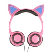 3.5mm Wired Headphones Cat Ear Flashing Earphone Music Headsets with LED Light-Pink
