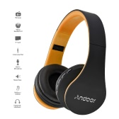Andoer 4 in 1 Bluetooth Headphone Wireless Stereo Bluetooth 3.0 Headset 3.5mm Wired Earphone  -Orange