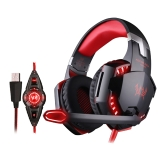 KOTION EACH G2200 Gaming Headphone USB 7.1 Surround Sound Version & Vibration Gaming Headphone Noise Isolation Music Earphone w / Mic LED Light Black-red for Computer Desktop Notebook Laptop Games Online Chatting