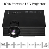 UC46 LED Projector 1200 Lumens 800 * 480 Pixels 800 : 1 DLNA Miracast WiFi  HD, VGA, 3in1 AV port, USB port, SD card - Black US Plug