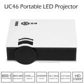 UC46 LED Projector 1200 Lumens 800 * 480 Pixels 800 : 1 DLNA Miracast WiFi  HD, VGA, 3in1 AV port, USB port, SD card - White US Plug