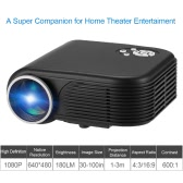 X5 LCD LED Projector 180 Lumens 800 * 480   600 : 1 HDMI / USB / AV / VGA / TF card- Black US Plug