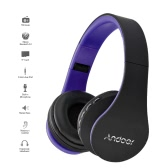 Andoer 4 in 1 Bluetooth Headphone Wireless Stereo Bluetooth 3.0 Headset 3.5mm Wired Earphone  -Purple