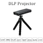 E06  Mini  DLP Projector  HD 1080p  120 Lumens  2000:1 Contrast Ratio Beamer HD AV SD USB Tripod for  Tablet PC NoteBook Laptop  Games  Home Theater EU Plug Black