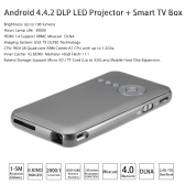 M6 Android 4.4.2 DLP LED Projector+ Smart TV Box XBMC 1G/16GB  2.4G / 5G Dual Band WiFi Bluetooth 4.0 -EU Plug