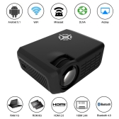 "M16 Full Color 150"" LED Projector w/Android 5.1 RK3128 Quad Core  KODI 1800 Lumens 1080P WiFi LAN Bluetooth 4.0 HD USB-1G/8G EU Plug"