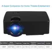 "E08 Full Color 100"" LED Projector 1200 Lumens 1080P 1000 : 1 ScreenShare HD VGA AV USB -EU Plug"