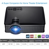 "SD50 Plus 150"" LED Projector 1500 Lumens 1000 : 1 800 * 480 Pixels HD, VGA, AV, USB, SD Card -Black UK Plug"