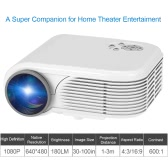 X5 LCD LED Projector 180 Lumens 800 * 480   600 : 1 HDMI / USB / AV / VGA / TF card-   White EU Plug