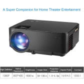 LED Projector 1500 Lumens 1080P Throw 130-inch Screen 1000:1 Contrast Ratio Portable Projector with HDMI AV USB Remote Controller White for NoteBook Laptop Tablet PC US Plug