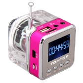 Mini Digital Portable Music MP3/4 Player Micro SD/TF USB Disk Speaker FM Radio Rose