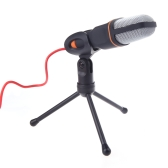 Mic Wired Condenser Microphone with Holder Clip for Chatting Singing Karaoke PC Laptop Black