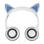 3.5mm Wired Headphones Cat Ear Flashing Earphone Music Headsets with LED Light-White