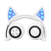 LX-BL108 Wireless Bluetooth Headset Glowing Cat Ear Foldable Earphones Stereo Music Hands-free w/Mic Headphones for iPhone iPad TV Computer Laptop Tablet PC Smartphone