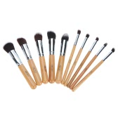 Abody 10Pcs Professional Makeup Brush Set Wooden Handle Essential Cosmetic Kit with Silica Gel Mini Cleaning Brush Tools Powder Brush Eyeshadow