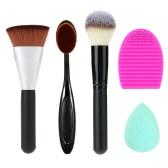 5 in 1 Cosmetic Set 3pcs Makeup Brushes Makeup Kit Blush Brush Contour Brush Washing Cleaner Powder Puff Face Makeup Tools