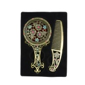 Women Chic Retro Bronze Pocket Mirror Compact Makeup Mirrors Comb Set Handheld Make Up Hollowed-Out Makeup Tool