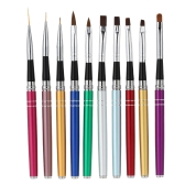 Professional 10Pcs Nail Art Design Polish Brush Pen Set Nylon UV Gel Painting Tool Nail Print Brush Decoration Kit