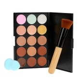 15 Colors Abody Make Up Cream #3 Facial Camouflage Concealer with Makeup Foundation Brush and Sponge Powder Puff Cosmetic Tool Mini Size for Women