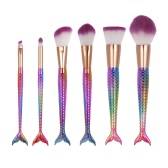 6pcs Makeup Brush Set Cosmetic Eyeshadow Brush Nylon Powder Foundation Brush Kit Blush Brush Colorized