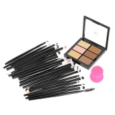 HUAMIANLI Cosmetic Makeup Tool Set 20pcs Brushes Kits One Sponge Puff 6 Colors Concealer Makeup Sets