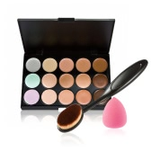 Anself Cosmetic Set Facial Concealer Cream Palette Make Up Sponge Puff Oval Brush for Foundation Powder