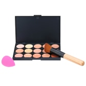 15 Colors Abody Make Up Cream#3 Facial Camouflage Concealer with Makeup Brush and Sponge Powder Puff Cosmetic Tool Mini Size for Women