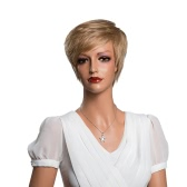 "11"" Short Hair Woman Light Brown Wigs Full Head Real Human Hair Wigs Cosplay Party Daily Masquerade Costume Hair Extension Tool"