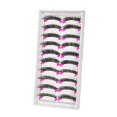 10 Pairs Fake Eyelashes Natral Emulational Extention False Eyelashes  Crisscross & Straight Thick Black Eyelashes Makeup Stage Performance