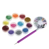 Nail Art Manicure Set 12 Colors Glitter Powder and 2 Way Nail UV Gel Brush Pen and Rhinestones Decoration Nail Art DIY Kit