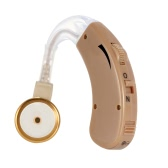 Behind Ear Sound Amplifier Digital Hearing Aid with Earplugs Volume Adjustable Audiphone Mini Brown