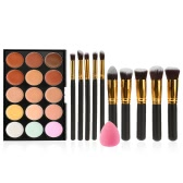 Anself Cosmetic Set Facial Concealer Cream Palette Make Up Brush for Foundation Powder with Sponge Puff