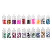 20 Colors Nail Art Stickers Sequins Heart & Hexagon Shape Crystal Glitter Powder Manicure Set Nail DIY Tool