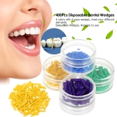 400Pcs Disposable Medical Dental Materials Wedges Plastic Dental Wedges 4 Color Green Blue Purple Yellow Dentist Tool