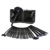 Abody 32Pcs Professional Makeup Brush Set Essential Cosmetic Make Up Brushes Kit Black Powder Brush Eyeshadow Eyeliner Eyebrow Brush +  Leather Case
