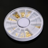 3D Gold Metal Nail Art Tips Slice Wheel DIY Nail Decoration Sticker Mix Designs