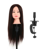 Training Head 80% Real Human Hair Manikin Head Hairdressing Dummy Head Salon Head + Hair Clamp Holder for Hair Practice