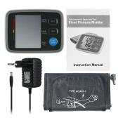 Full Automatic Digital Blood Pressure Monitor Pro Upper Arm Cuff Tonometer Hematomanometer Sphygmomanometer Pulsometros Heart Rate Monitor for Heart Blood W/ LCD Screen